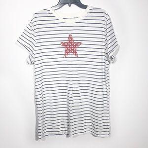 Disney Parks Mickey Print Star Stripe Tee 2X